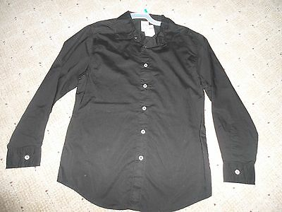 unisex clothes tops girls boys long sleeve black large 10 12  button down shirt