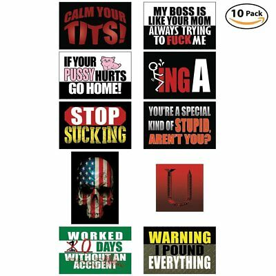 Funny Hard Hat & Helmet Stickers 10 Decal Value Pack Extreme Edition Toolbox