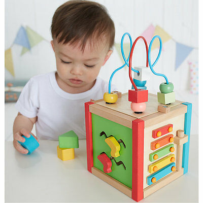 New ELC Boys and Girls Wooden Activity Cube Toy From 12 months