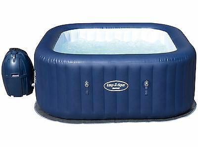 Bestway Lay-Z-Spa Hawaii Air Jet 6 Person Heated Inflatable Square Hot Tub Blue