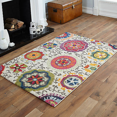 Cream Multi Small Large Floral Rug 12mm Thick Modern Quality Soft Sale Price Rug