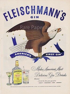 Fleischmanns Gin 1950 Vintage Original Illustrated American Eagle Print Ad