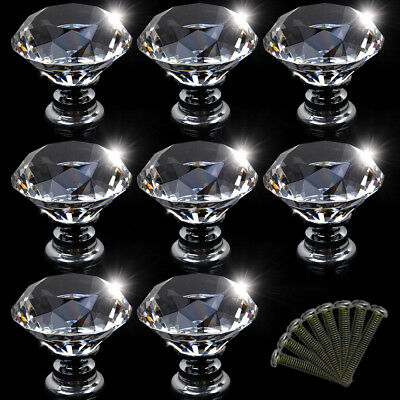 30MM Clear Crystal Glass Door Knobs Handles Diamond Drawer Cabinet Kitchen UK