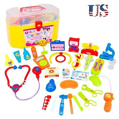 30Pcs Kids Baby Nurse Doctor Pretend Medical Carry Kit Educational Role Play Toy