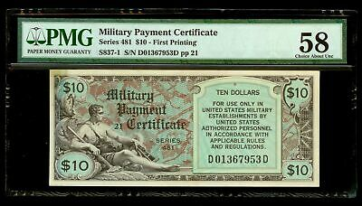 (1951)Series 481 $10 Military Payment Cert First Printing Mpc Pmg Choice Au 58
