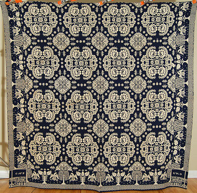 MUSEUM QUALITY Antique Double Weave Jacquard NY Coverlet 1838 Eagle Border!