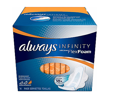 Always Infinity Maxi Pads With Avec FlexFoam Overnight 14 ea (Pack of 8)