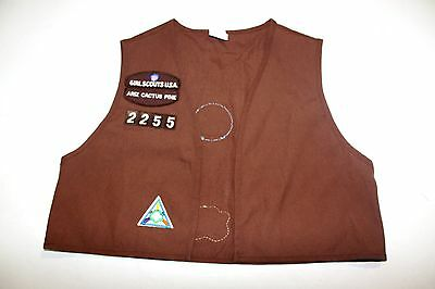 Girl Scouts Brownie Vest SIZE LARGE 14-16 ARIZONA SEWN PATCHES