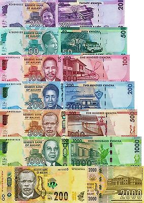 New: Malawi Banknotes Set: 20K to 2000 Kwacha (2014-2016) )P63 -P68) all UNC
