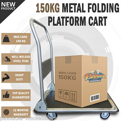 NEW 150KG Heavy Duty Fold Platform Cart Moveable Dolly Push Hand Truck Trolley
