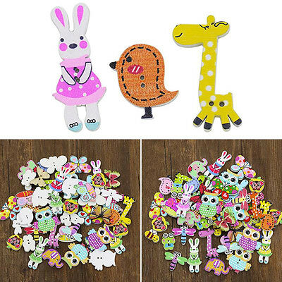 50x Multicolor 2Holes Mixed Animal Wooden Buttons Sewing Craft DIY Scrapbooking