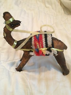 Vintage Hand Made & Stitched Leather Camel With  Figure Collectible