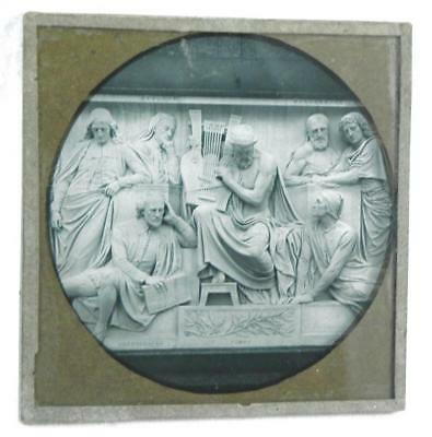 Magic Lantern Slide Shakespeare and Homer Relief Stone Carving Photo Glass