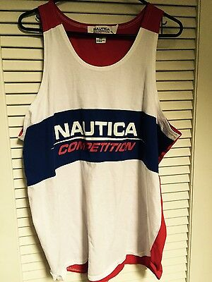 Rare Vintage 90s Mens Nautica Competition Sports Tank Top Sz L