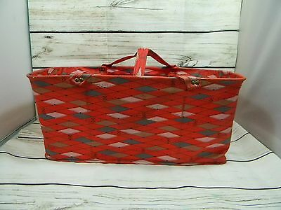 Vintage Handy Folding Pal Co. Canvas Shopping Hand Basket W/Red Handles