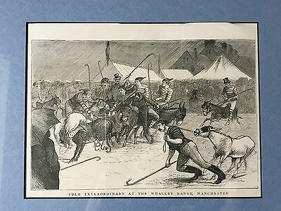 Antique Picture Print Polo Match Of The Whalley Range Manchester 1878