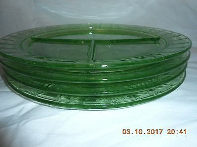Anchor Hocking Green CAMEO Ballerina Depression Glass 4 Grill Plates Very Good