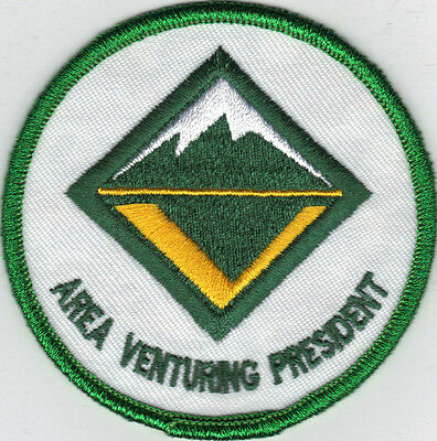 "Area Venturing President Patch (2007), Green Mylar Brd, ""Scout Stuff"" Back, Mint"