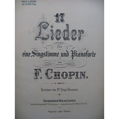CHOPIN Frédéric 17 Lieder Chant Piano   Partition Sheet Music Spartiti Partitura