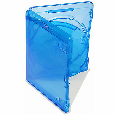 100 X Genuine Amaray Triple Blu Ray Case Double Tray 14mm Spine - Pack of 100