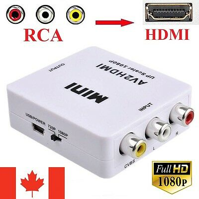 RCA to HDMI Adapter Converter Video Audio Composite AV 720p 1080p Upscaler CVBS