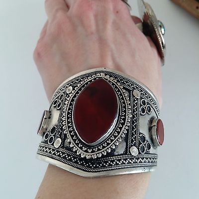 Unique Carnelian Bohemaian Cuff Bracelet Tribal Style Ethnic Statement Jewelry