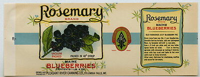 ROSEMARY Vintage Maine Blueberry Can Label, *AN ORIGINAL 1930's TIN CAN LABEL*