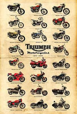 "TRIUMPH MOTORCYCLES VINTAGE MANY MODEL THE POSTER 24""x36"" NEW SHEET WALL J-4402"