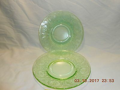 "1930-1933 Indiana Glass Horseshoe Green Pattern 2 Saucers 6"" Good Condition"
