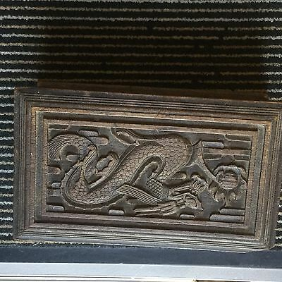 Rare Antique Chinese Imperial Dragon Carved Wooden Box