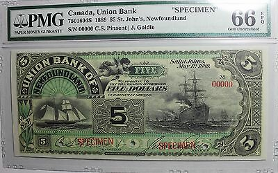 1889 $5 Union Bank of Newfoundland PMG-66 Specimen