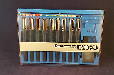 STAEDTLER MARS MATIC 700 DRAFTING/Technical Drawing 9 pen set Excellent (C11B5)