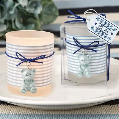 30 Adorable Blue Teddy Bear Themed Frosted Glass Votive Baby Shower Favors
