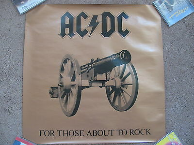 "AC/DC FOR THOSE ABOUT TO ROCK...1981 USA PROMO POSTER ORIGINAL 22 x 22"" M- Cond."