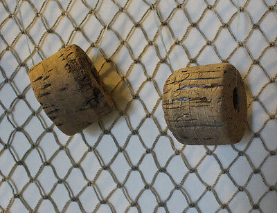 2 nets 3' x 3' REAL AUTHENTIC VINTAGE USED FISHING NET WITH 6 OLD BOUYS / FLOATS