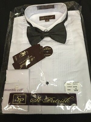 Men's Solid White Tuxedo Shirt with Solid Black Bow Tie St Patrick's Sizes 17-18