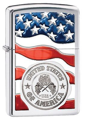 Zippo Windproof Lighter With American Flag and U.S. Seal, 29395, New In Box