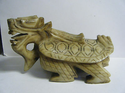 Unusual Vtg Chinese Soapstone 6'' Dragon / Turtle Creature Hand Carved Statue