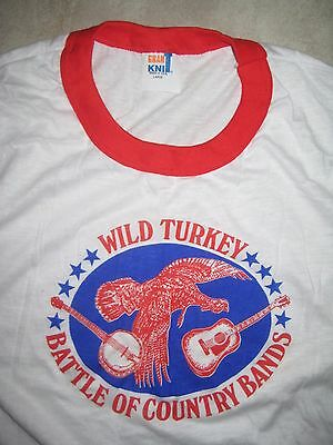 Vintage WILD TURKEY BOURBON Battle of Country Bands Ringer White Shirt USED L