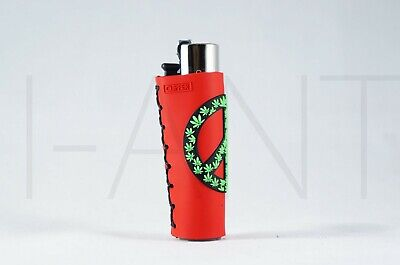1x Clipper Leaves Refillable Full Size Lighter With Rubber Cover Green White