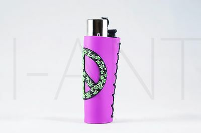 1x Clipper Leaves Refillable Full Size Lighter With Rubber Cover Purple Peace
