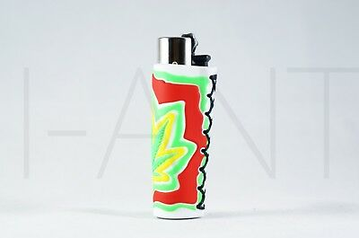 1x Clipper Leaves Refillable Full Size Lighter With Rubber Cover Green Yellow