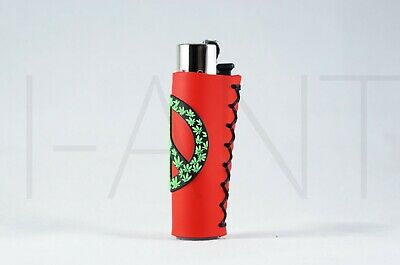1x Clipper Leaves Refillable Full Size Lighter With Rubber Cover Peace Yellow