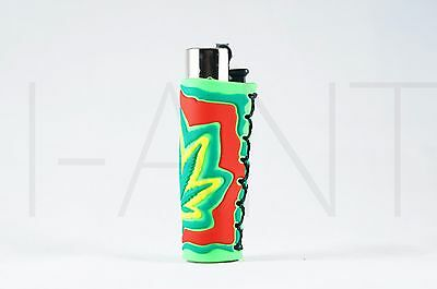 1x Clipper Leaves Refillable Full Size Lighter With Rubber Cover GYR L Green