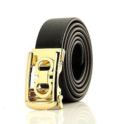 Celino New Automatic Belt men unisex gold buckle black genuine leather waistband