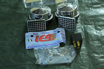 LEB Made in Italy Dual Horn NEW T80/2C loud Chrome Horns Horn + Relay Twin Poles