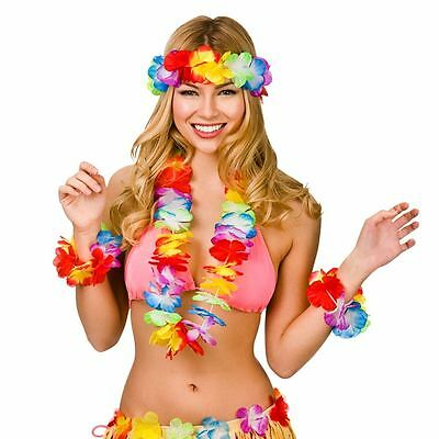 Hawaiian Fancy Dress Flower Lei Necklace Garland Headband Hula Party Costume Set