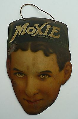 Very Rare Early 1900's Moxie Boy Embossed Lithographed Tin Advertising Sign