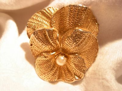 Large Vintage Antique Heavy Cast Gold GT Pearl Pansy Violet Flower Brooch Pin