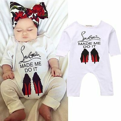 Newborn Baby Girl Kids Long Sleeve Bodysuit Romper Jumpsuit Outfits Clothes UK